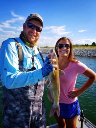 girls fish, catfish, fishing guide, Loveland, Boyd, Colorado, happy client, Brad Petersen
